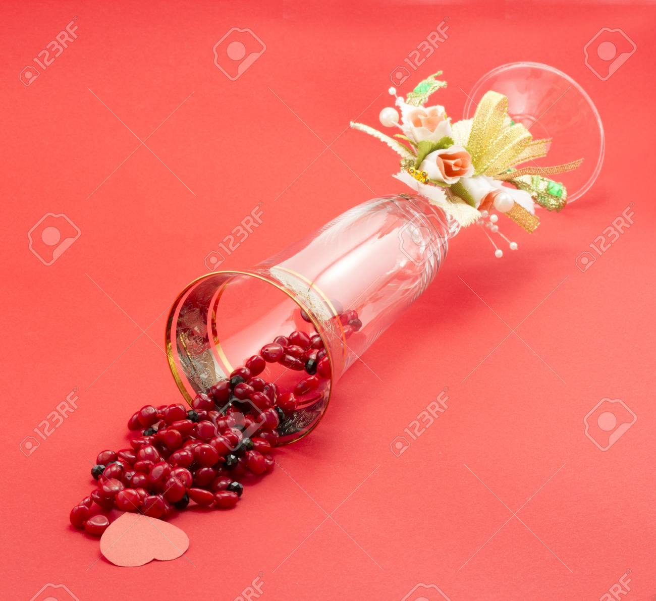 wineglass isolated on red background Stock Photo - 17408408