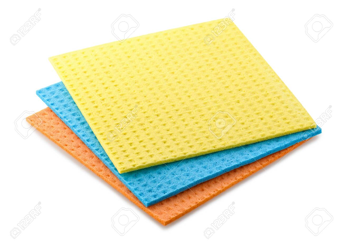three rags sponges for washing dishes isolated on white background - 141391304