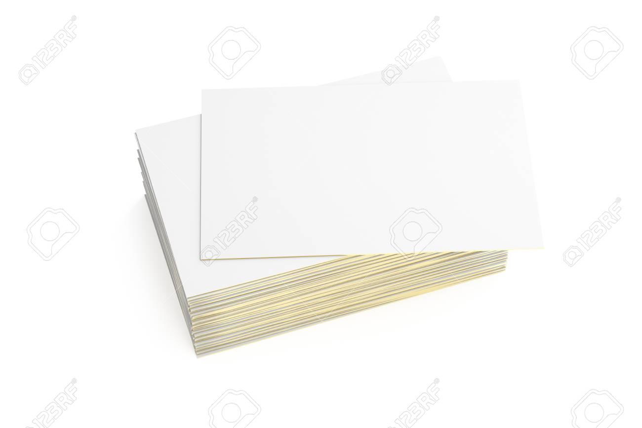 Cartes De Visite Vierges Avec Bord Dor Sur Fond Blanc Inclure Un