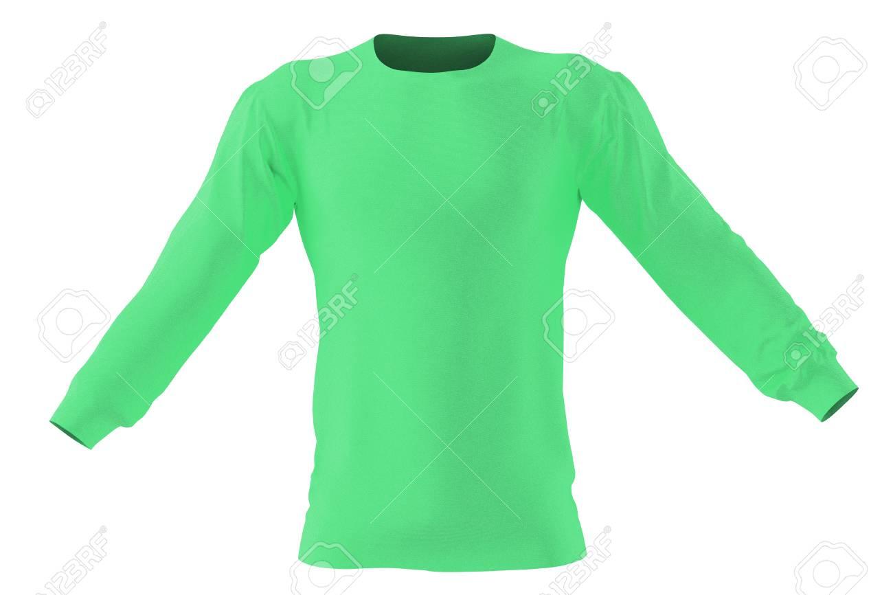 c0520828b9bdaf Langes Ärmel grünes T-Shirt . Getrennt auf weißem Hintergrund .  Beschneidungspfad einschließen . 3d