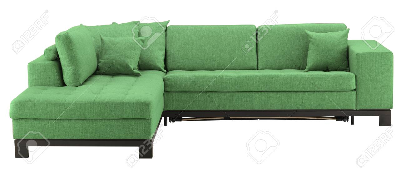 Green Corner Sofa Isolated On White Include Clipping Path Stock ...