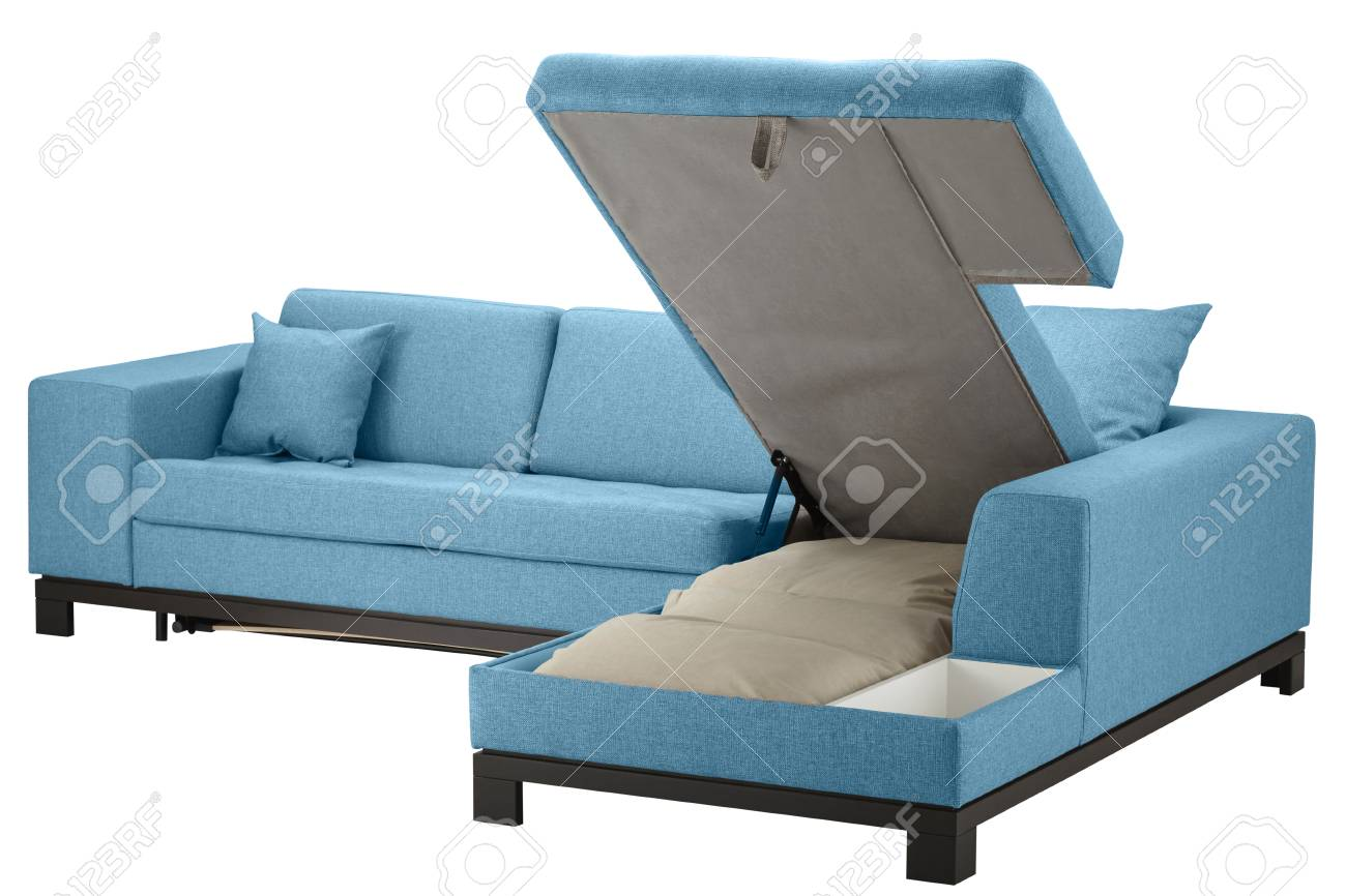 Phenomenal Turquoise Corner Couch Bed With Storage Isolated On White Include Machost Co Dining Chair Design Ideas Machostcouk
