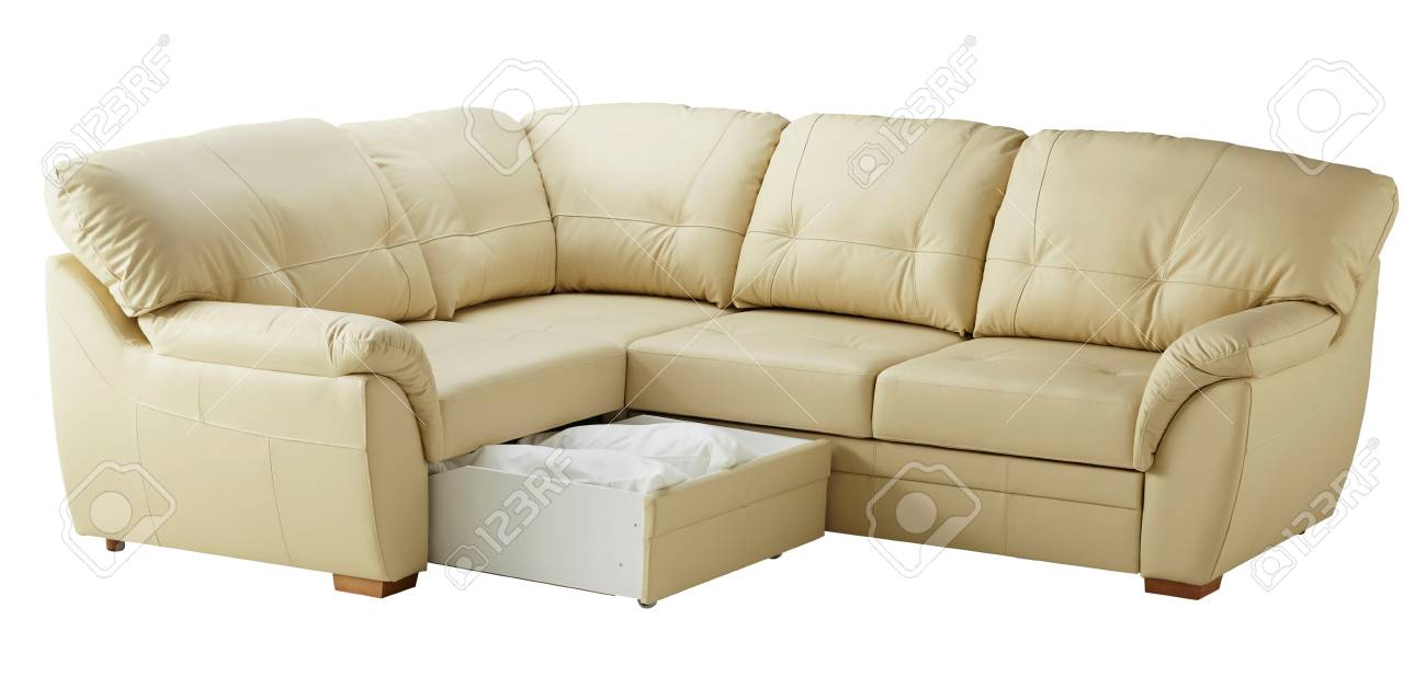 White leather sofa bed with storage isolated on white