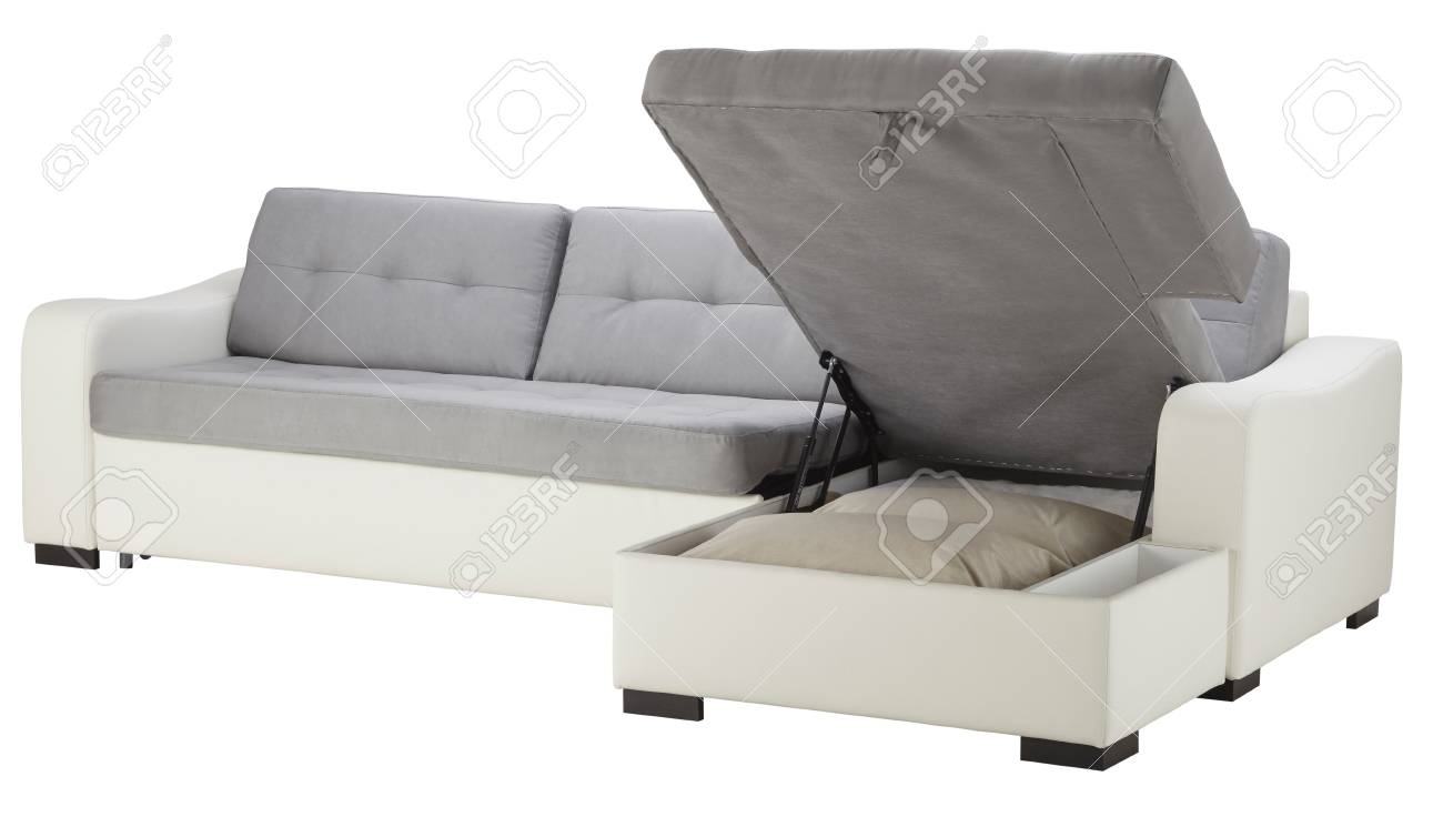 White Leather Corner Couch Bed With Storage Isolated On White Stock ...