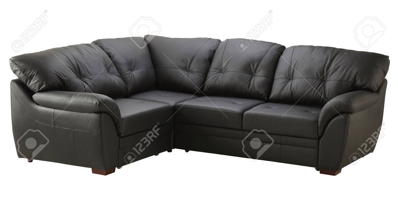 Black Brown Leather Corner Sofa Isolated On White Stock Photo ...