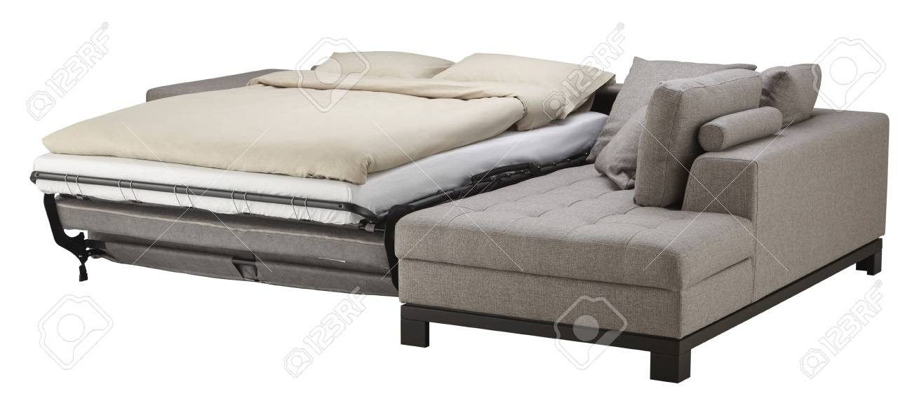 Superb Grey Corner Couch Bed Isolated On White Machost Co Dining Chair Design Ideas Machostcouk