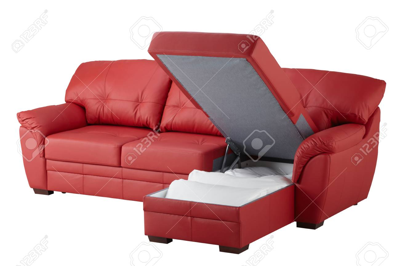 Red leather corner sofa bed with storage isolated on white