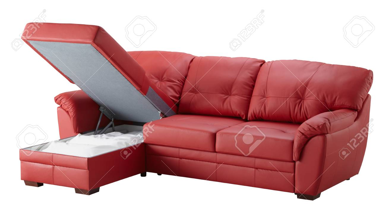 Amazing Red Leather Corner Couch Bed With Storage Isolated On White Caraccident5 Cool Chair Designs And Ideas Caraccident5Info