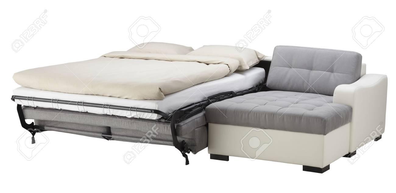 Weiße Leder Ecke Couch Bett Isoliert Auf Weiß Lizenzfreie Fotos
