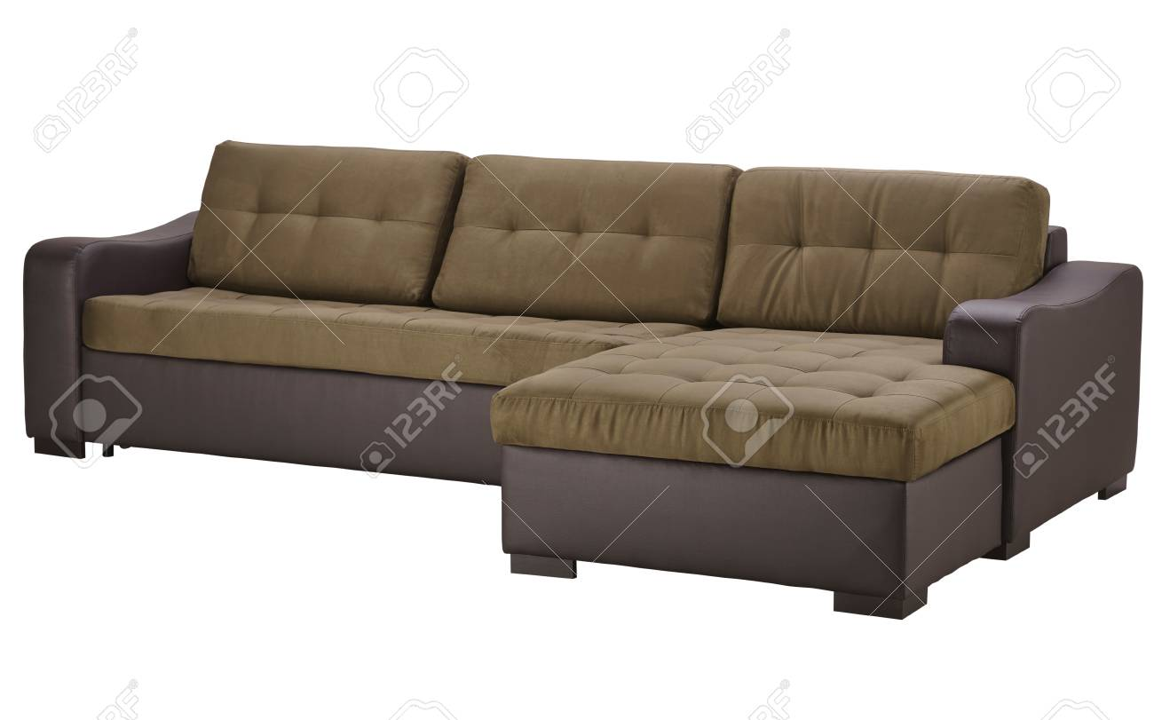 Brown Leather Corner Sofa Isolated On White Include Clipping.. Stock ...