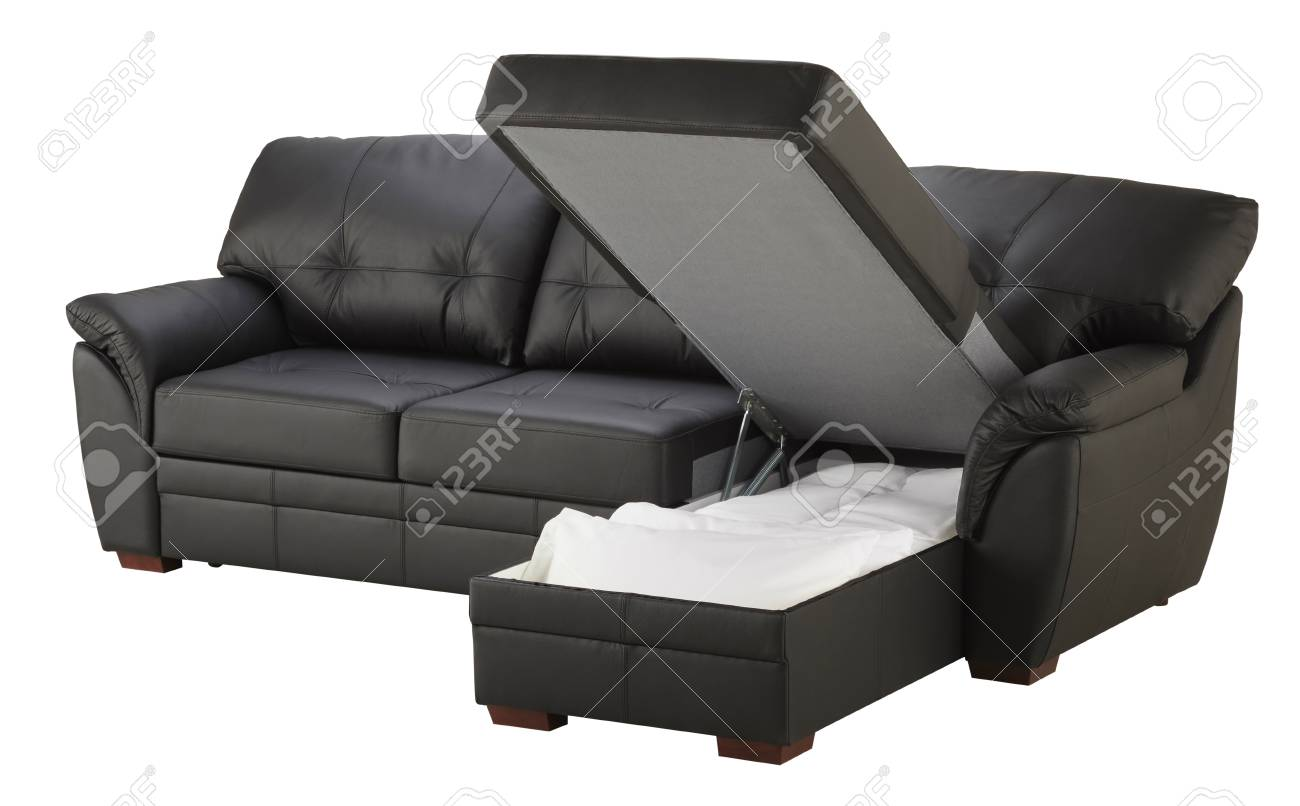 Black Brown Leather Corner Couch Bed With Storage Isolated On ...