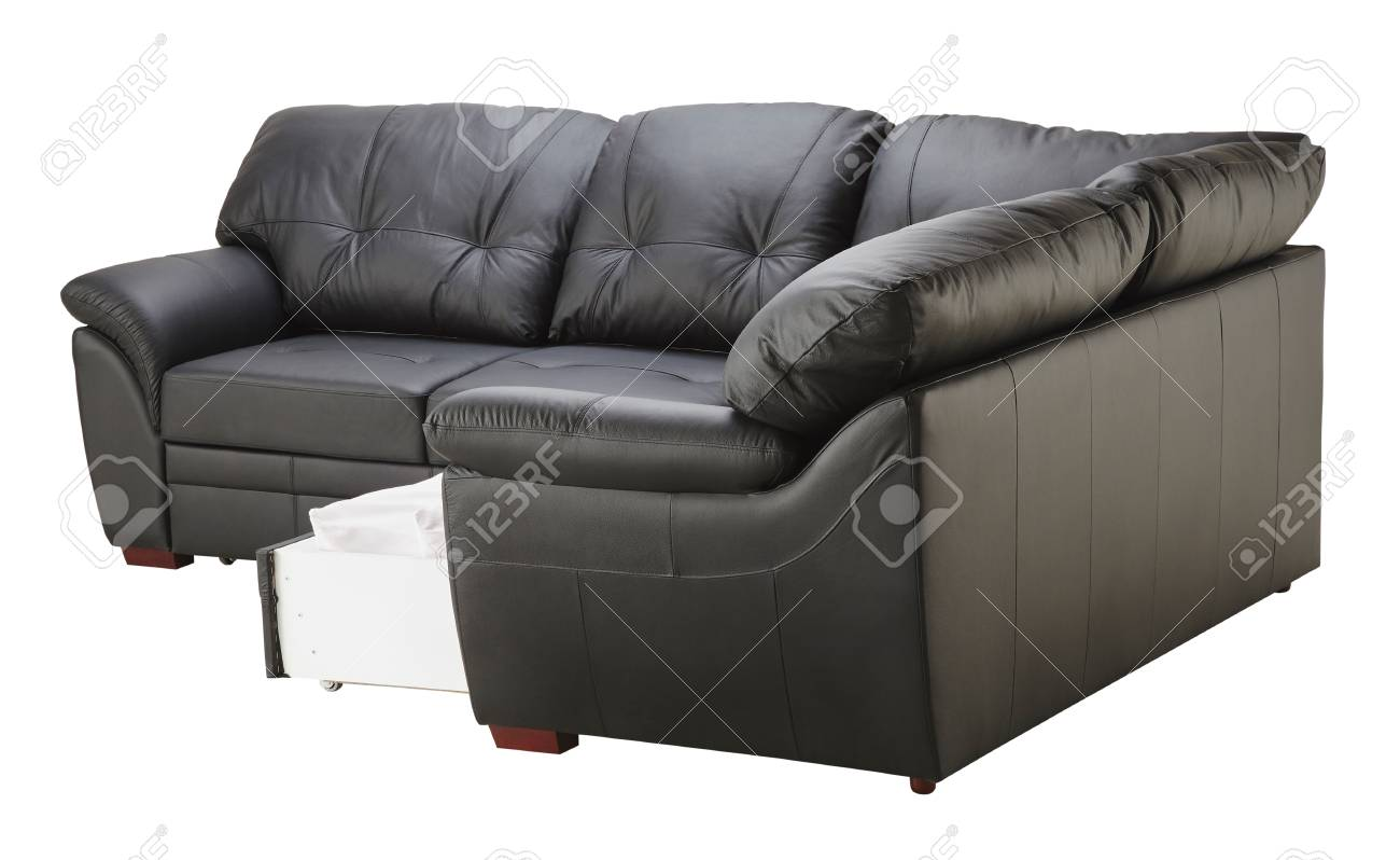Black brown leather corner couch bed with storage isolated on..