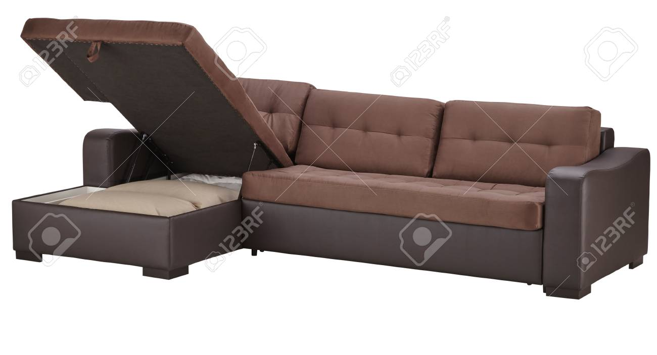 Brown Leather Corner Couch Bed With Storage Isolated On White
