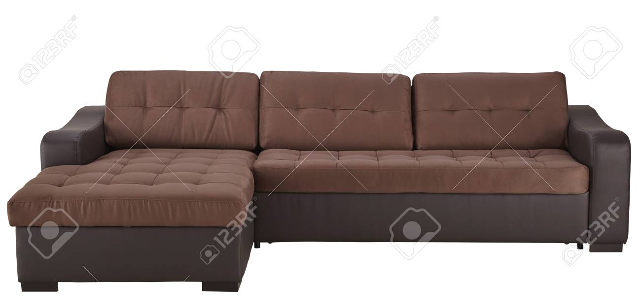 Brown leather corner sofa isolated