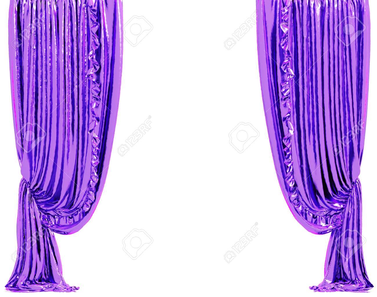 Briller Le Rideau Violet. Isolé Sur Fond Blanc Inclure Un Tracé De ...