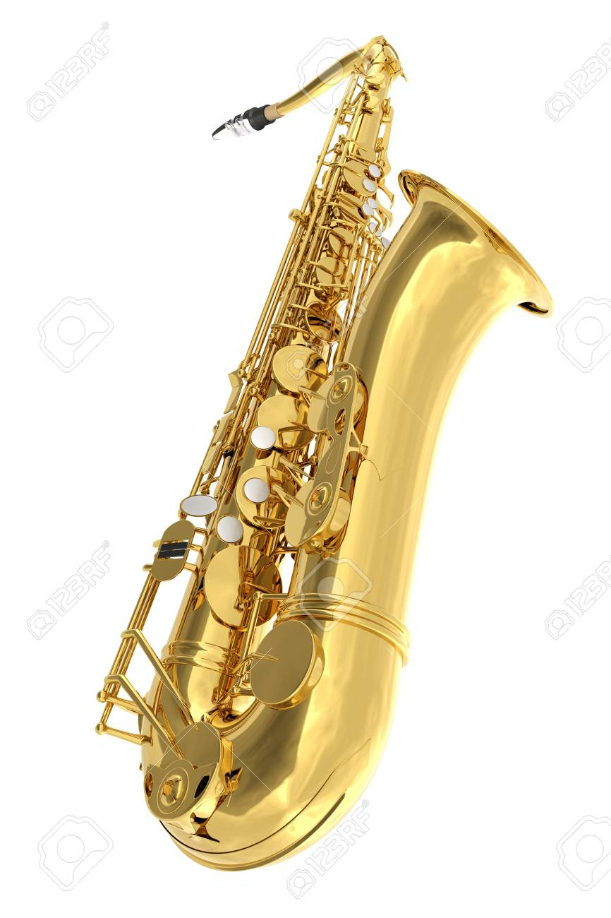 Tenor saxophone. Isolated on white background. Include clipping path. 3d render - 78908959