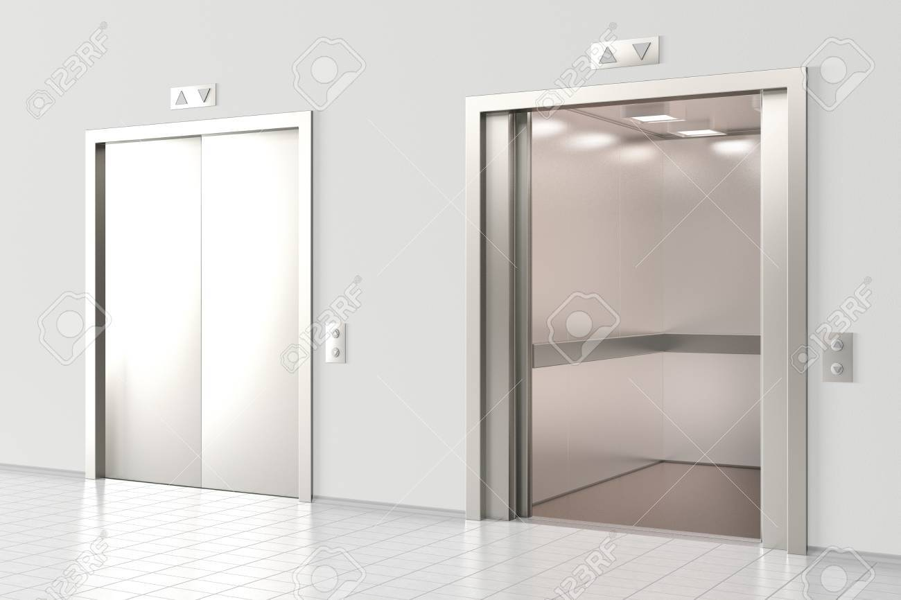 open office doors. Plain Open Elevator With Closed Doors And Elevator Open In Office Lobby 3d  Render Stock And Open Office Doors