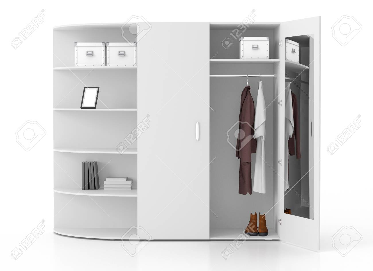 Open white wardrobe with book racks and mirror isolated on white background. Include clipping path. 3d render - 79135127
