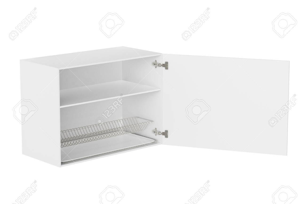Het Witte Kabinet.Het Witte Kabinet Van De Keukenmuur Met Schotelafdruiprek Dat Op Witte Achtergrond Wordt Geisoleerd Inclusief Uitknippad 3d Render