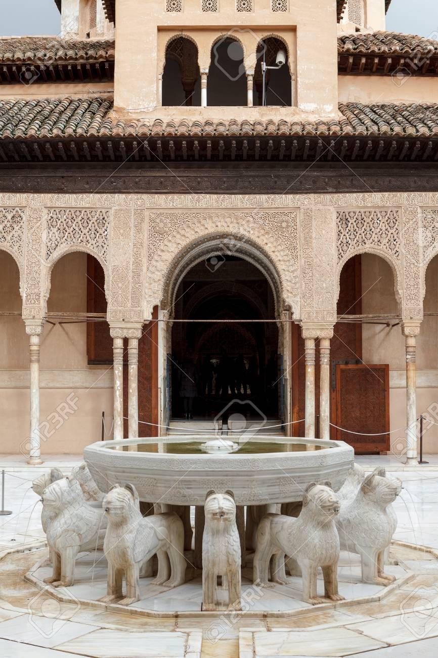 Courtyard Of The Lions Patio De Los Leones In Alhambra Of Granada