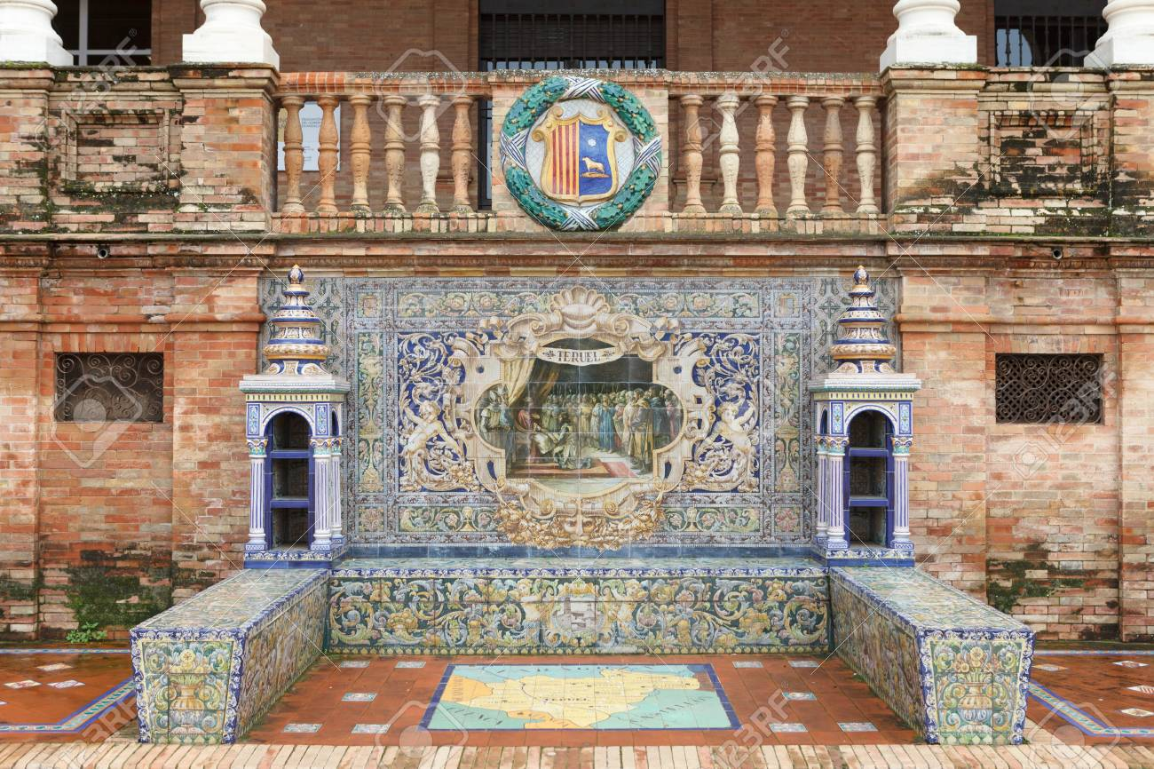 Teruel Spain Map.Symbol Of Teruel Coat Of Arms Map And Decorative Panels On Stock