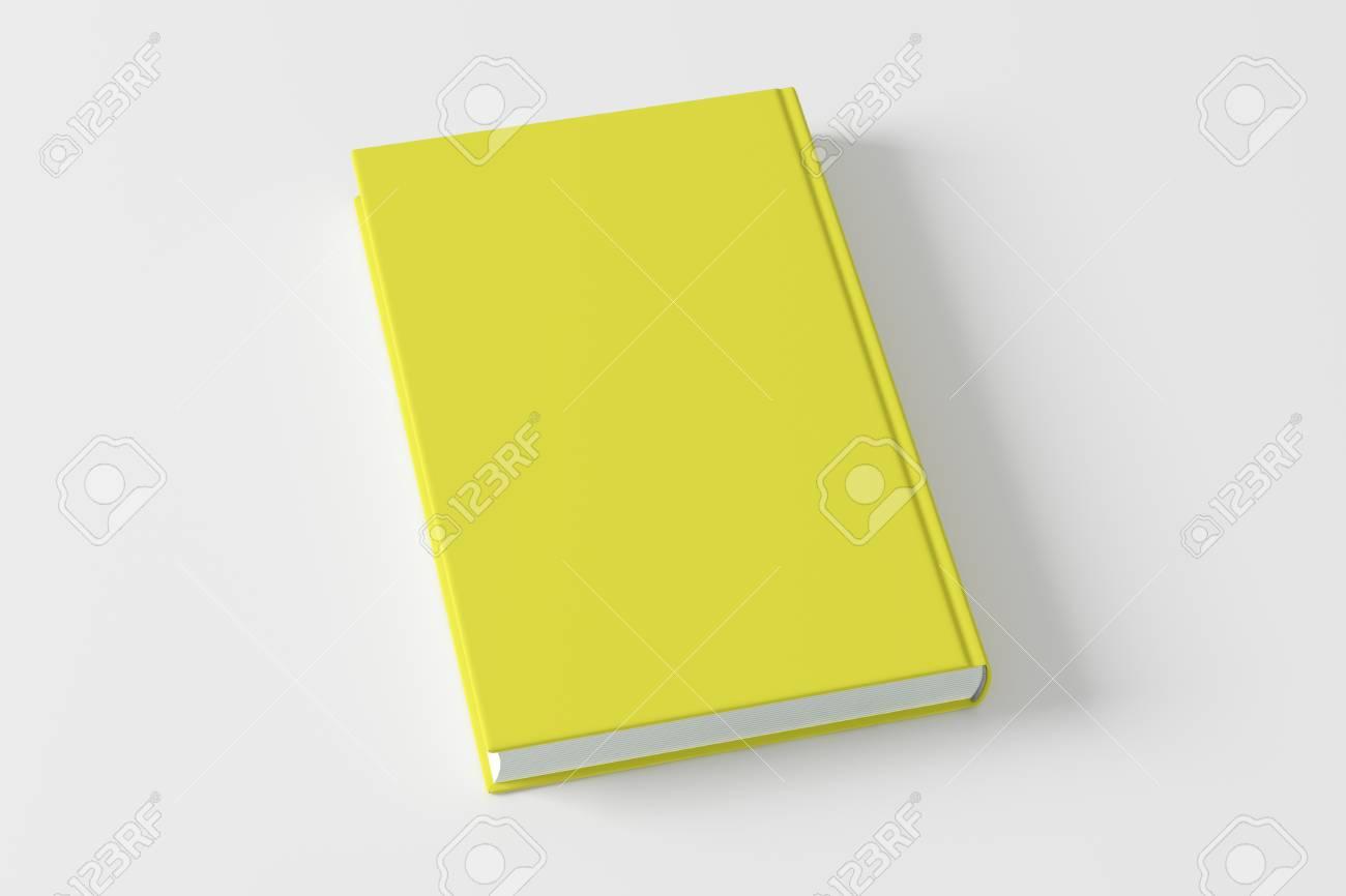 白い背景の空白のイエロー ブック カバー。3 D のレンダリング の写真 ...
