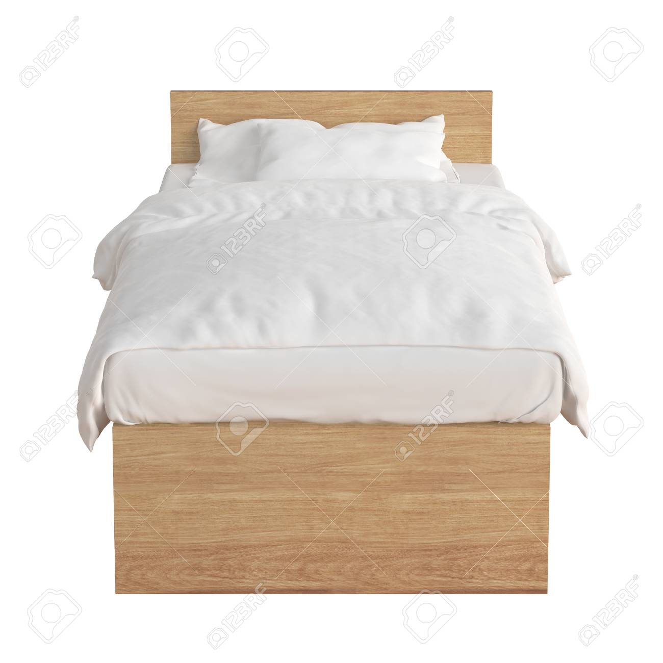 Wooden Twin Size Bed.Wooden Twin Size Single Bed With White Linen Isolated On White