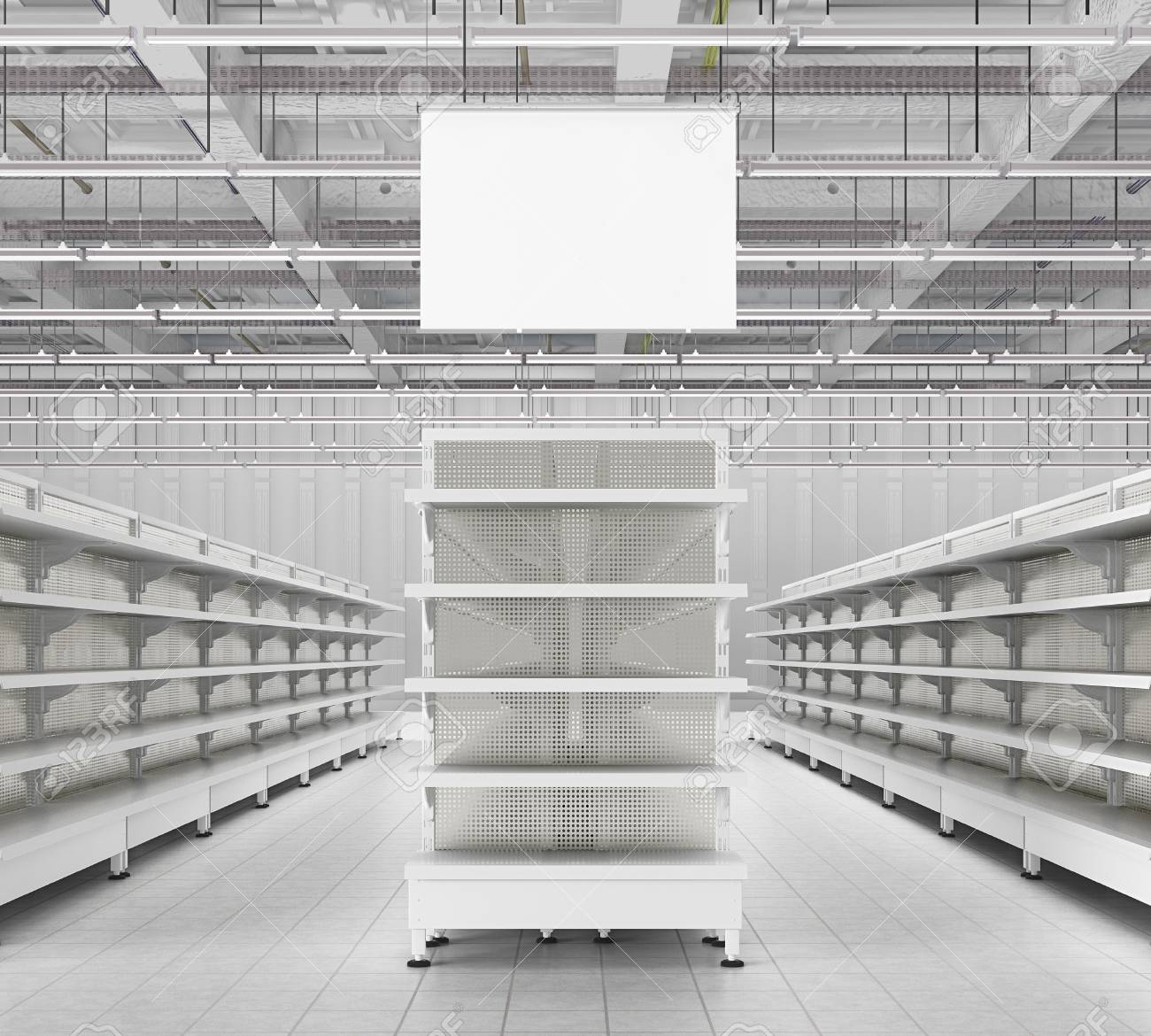 Peachy Store Interior With Empty Supermarket Shelves And Blank Advertising Home Remodeling Inspirations Genioncuboardxyz