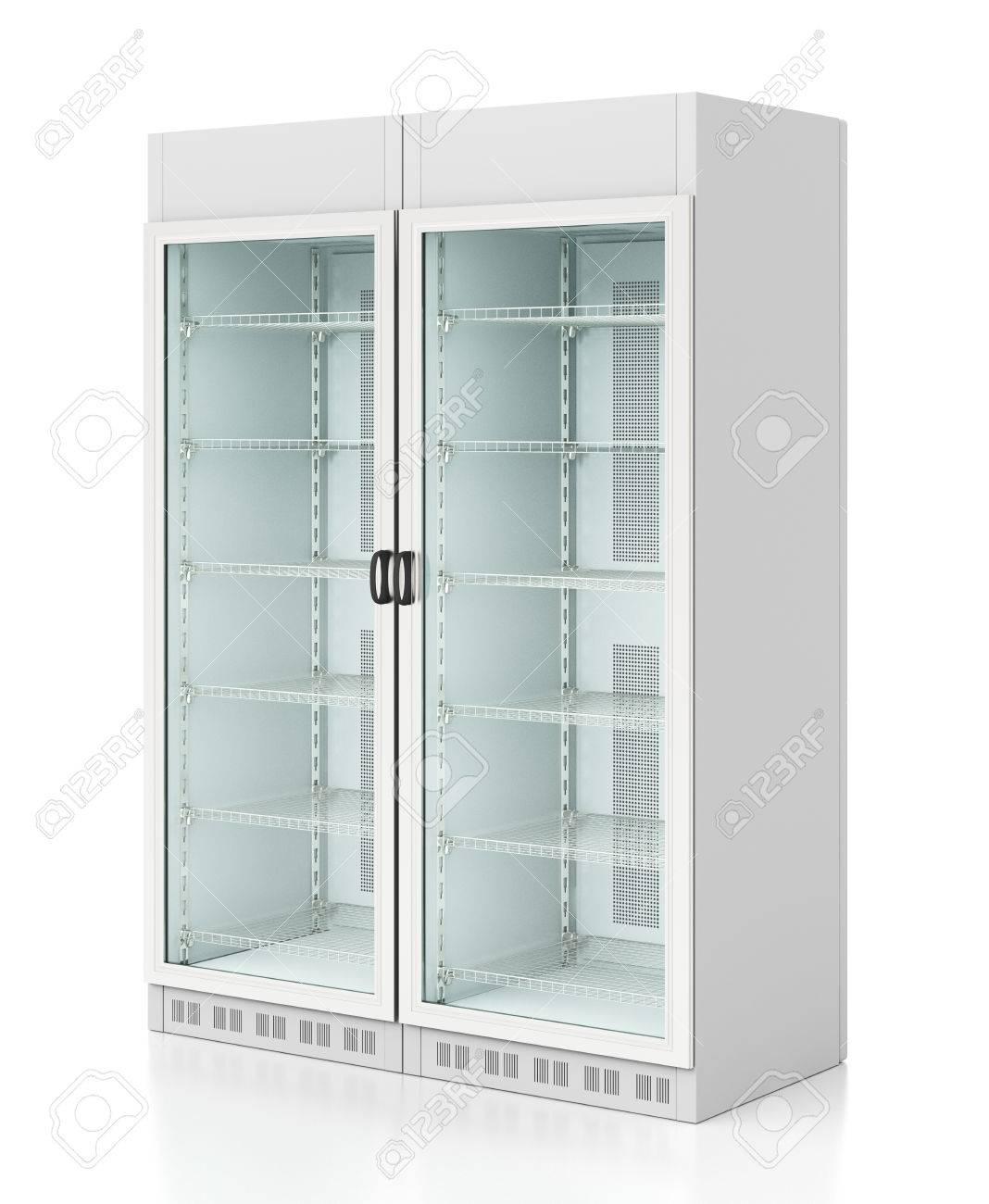 Leeres Glas Mit Zwei Türen Kühlschrank. Getrennt Auf Weißem ...