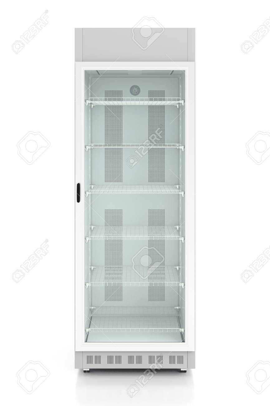 Empty Glass Door Display Refrigerator Isolated On White Background