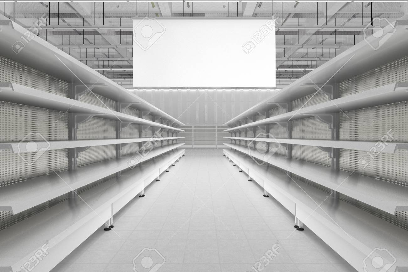 Phenomenal Store Interior Aisle With Empty Supermarket Shelves And Blank Home Remodeling Inspirations Genioncuboardxyz