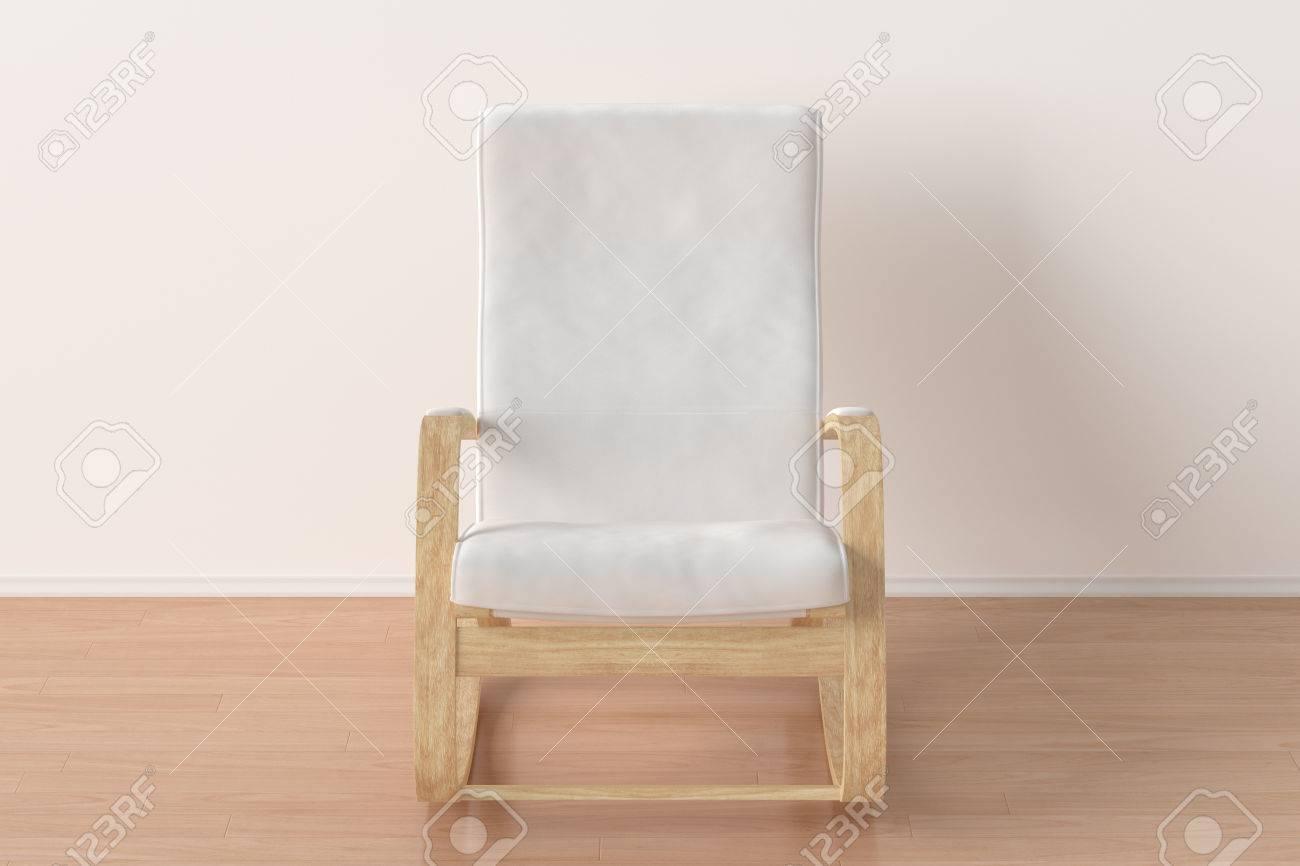 weißer schaukelstuhl im hellen innenraum. 3d übertragen lizenzfreie