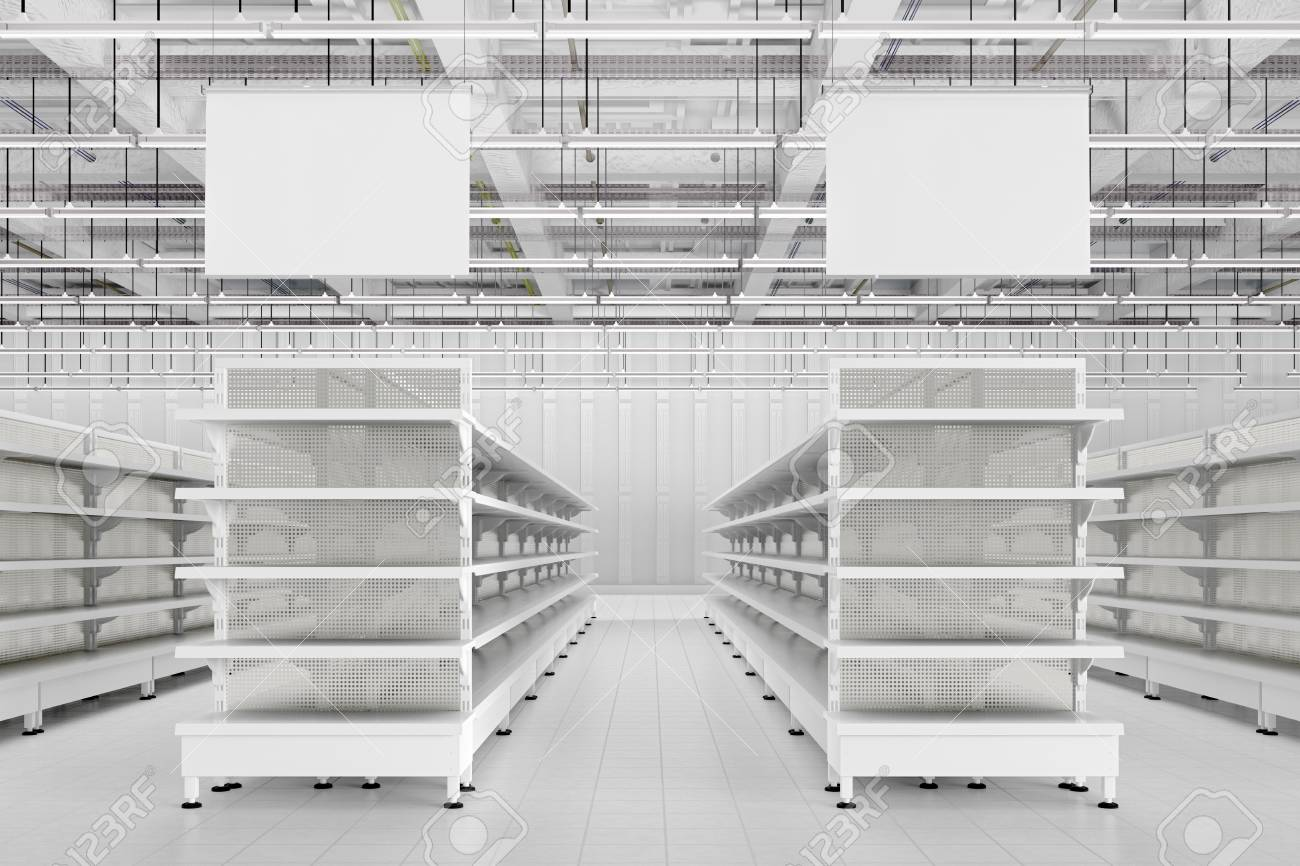 Remarkable Store Interior With Empty Supermarket Shelves And Blank Advertising Home Remodeling Inspirations Genioncuboardxyz