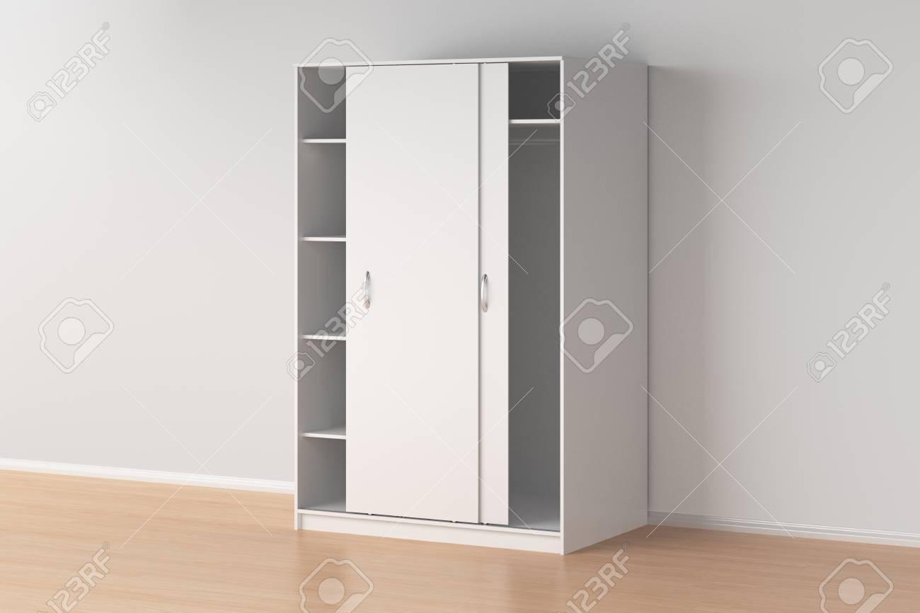 Placard À Portes Coulissantes armoire blanche avec portes coulissantes à l'intérieur. rendu 3d