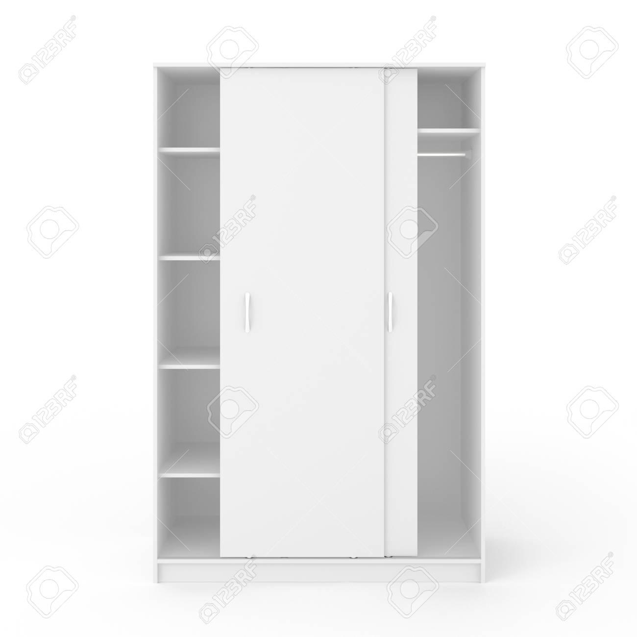 Garderobe Met Schuifdeuren.Lege Witte Garderobe Met Schuifdeuren Die Op Witte Achtergrond