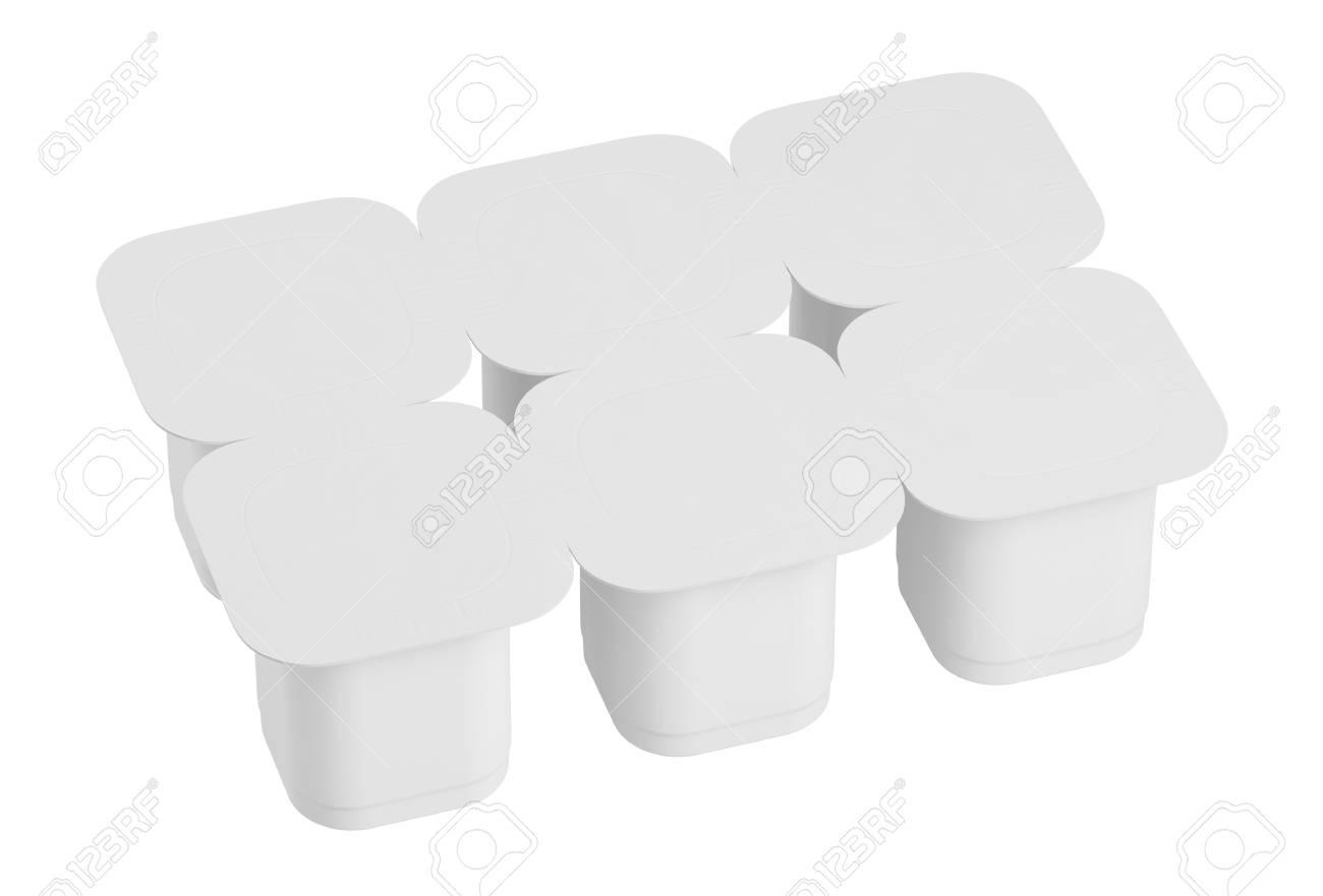 Blank Pack Of Six Yogurt Packaging Mockup Dessert Plastic