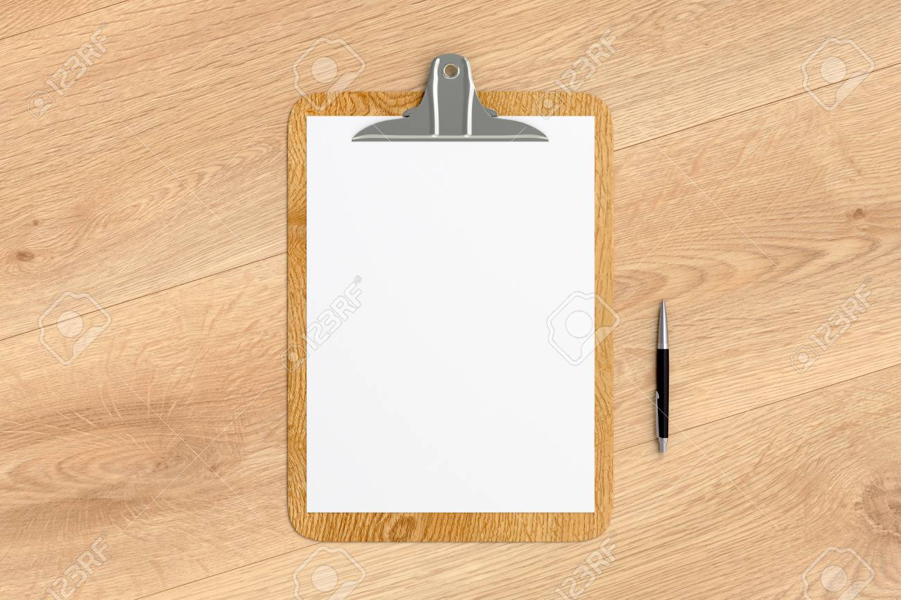 wooden clipboard with blank white paper pages and ball pen isolated