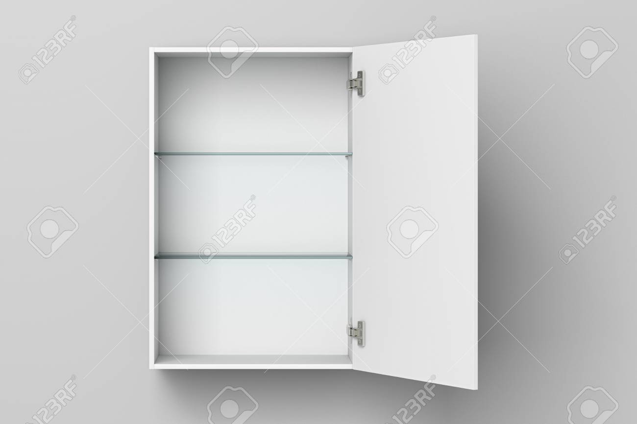 Open Empty White Bathroom Cabinet Isolated On White Wall With ...