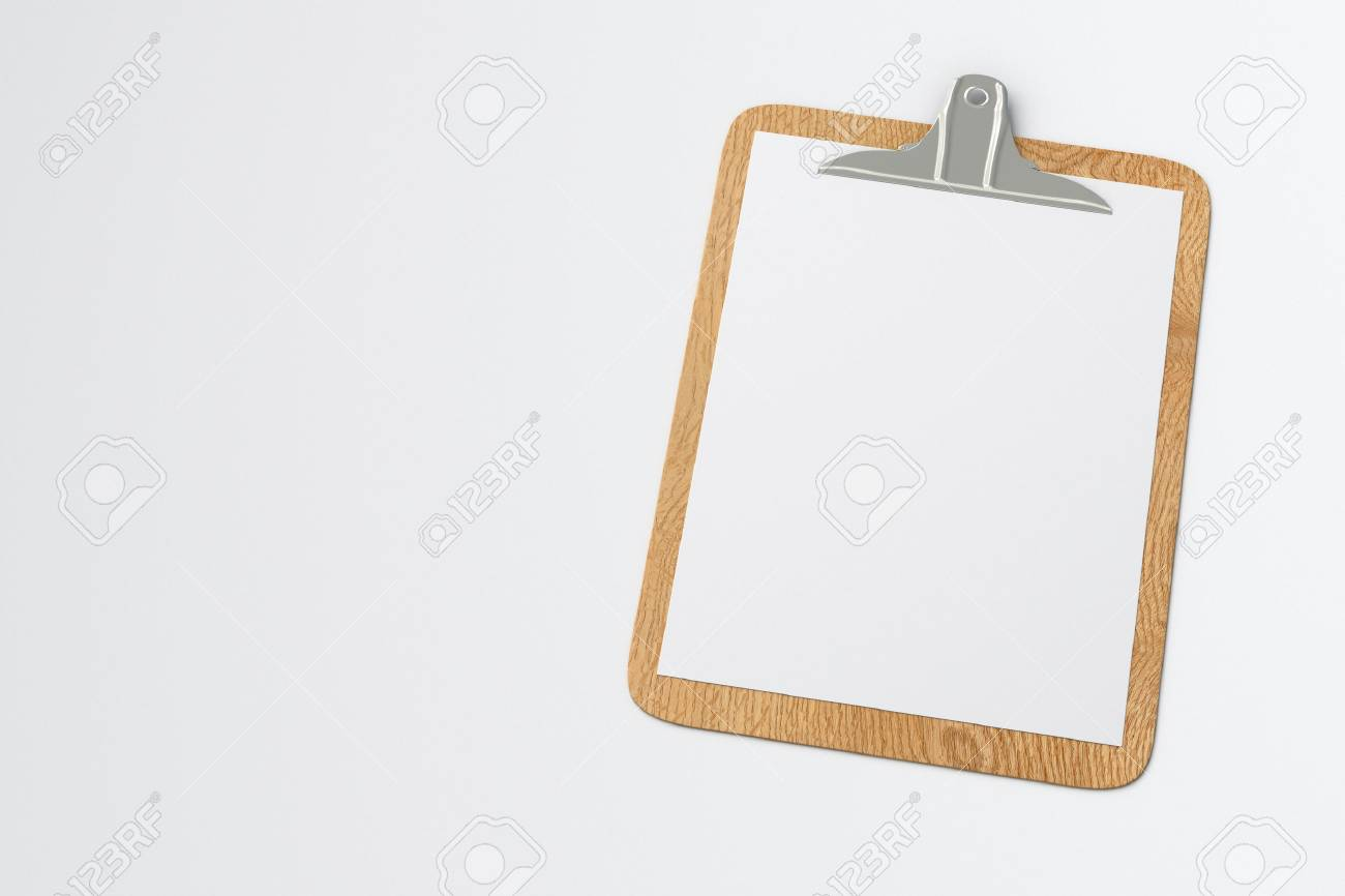 wooden clipboard with blank white paper pages isolated on white