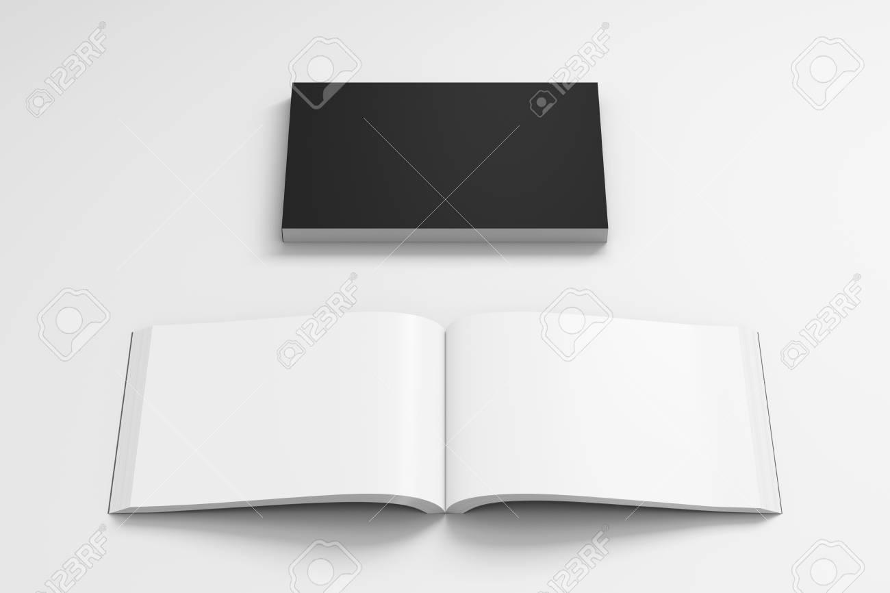 Livre De Couverture Souple Blanc Paysage Noir Avec Papier Glace Sur Fond Blanc Ouvert Et Ferme Isole Avec Un Trace De Detourage Autour De Chaque
