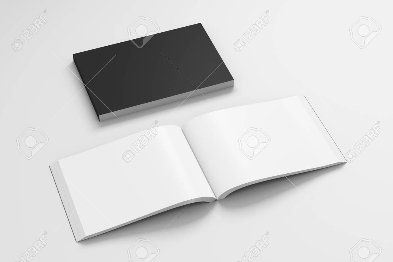 Livre A Couverture Souple Paysage Noir Blanc Avec Papier Glace Sur Fond Blanc Ouvert Et Ferme Isole Avec Un Trace De Detourage Autour De Chaque
