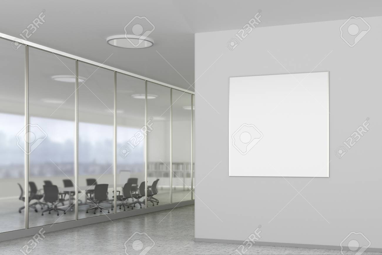 bright office. Blank Square Poster On The Wall In Bright Office Interior With Clipping Path Around Banner. N