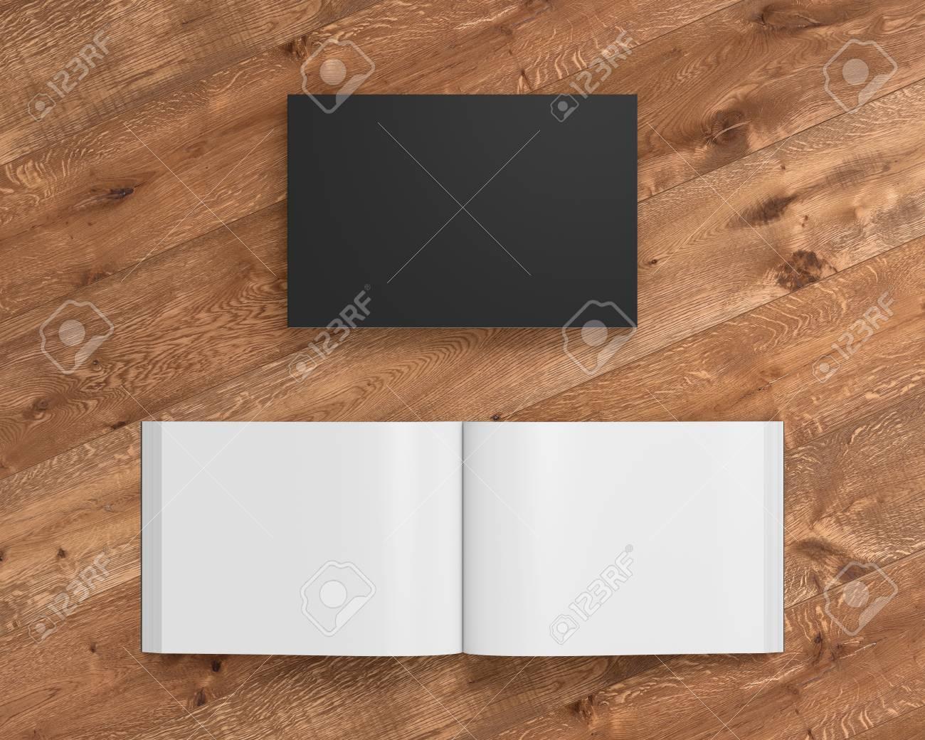 Livre De Couverture Souple De Paysage Noir Blanc Avec Papier Glace Sur Fond En Bois Ouvert Et Ferme Isole Avec Un Trace De Detourage Autour De
