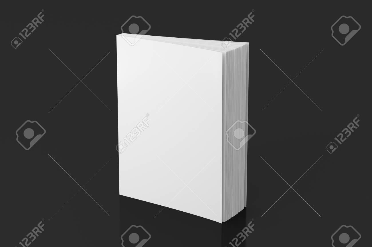 Livre De Couverture Souple Vertical Blanc Blanc Debout Sur Fond Noir Isole Avec Un Trace De Detourage Autour Du Livre Illustration 3d