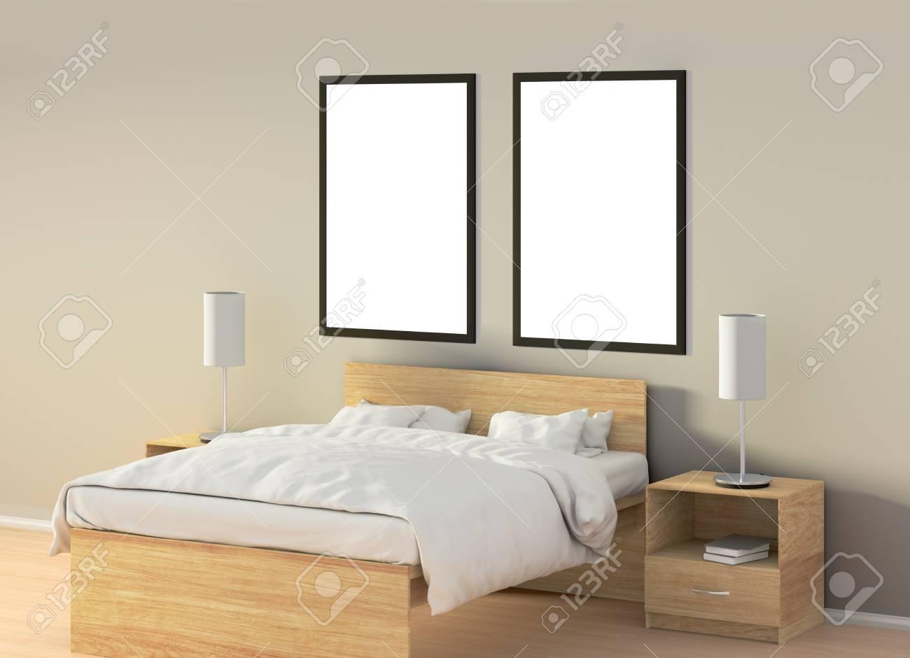 Zwei Leere Vertikale Poster Im Schlafzimmer über Holzbett. Mit ...