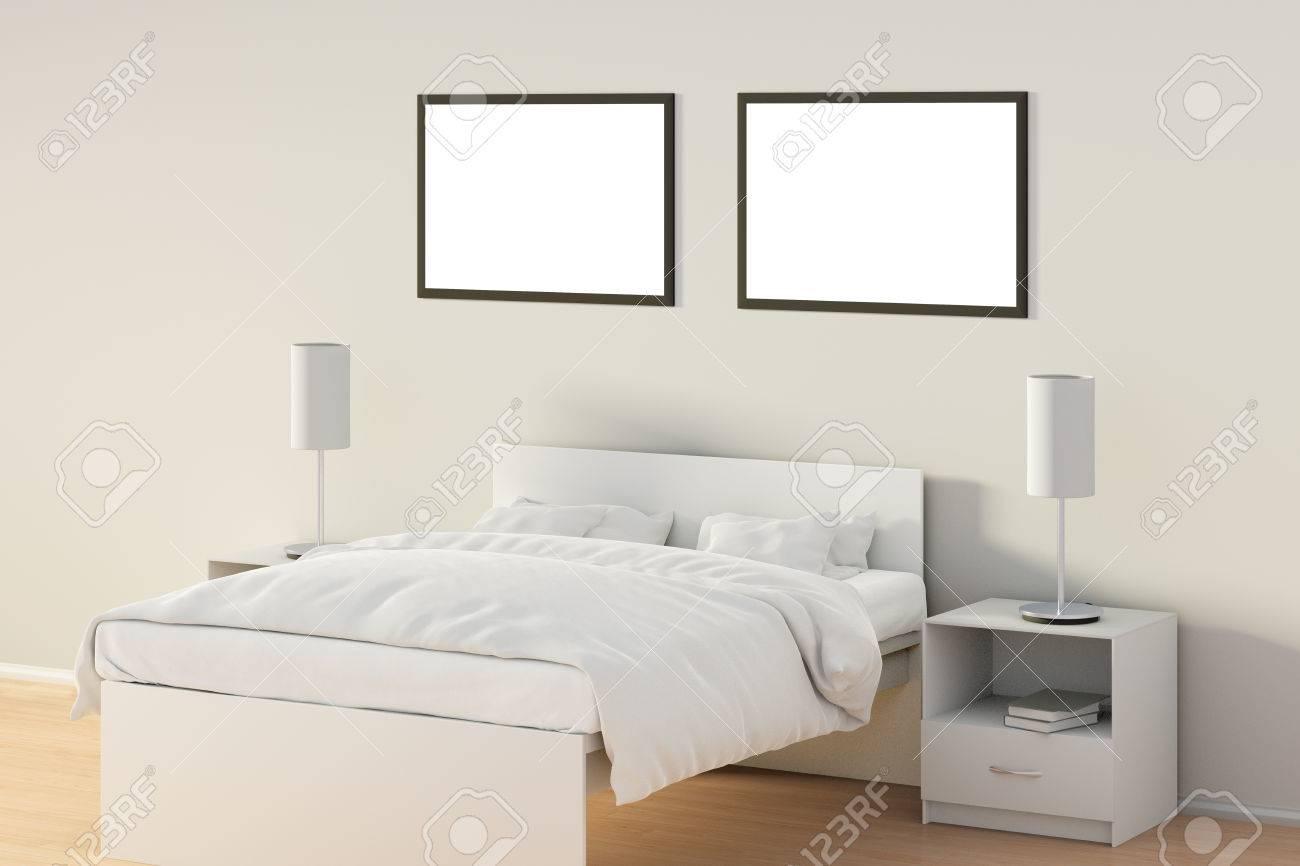 Standard Bild   Zwei Leere Horizontale Poster Im Schlafzimmer über Dem  Weißen Bett. Lokalisiert Mit Beschneidungspfad Um Plakatrahmen.  3D Darstellung