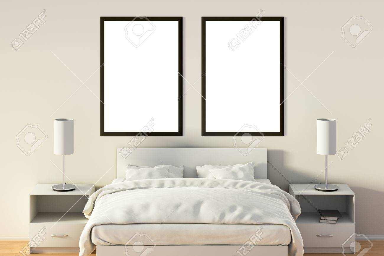 Two Blank Vertical Posters In Bedroom Over White Bed. Isolated ...