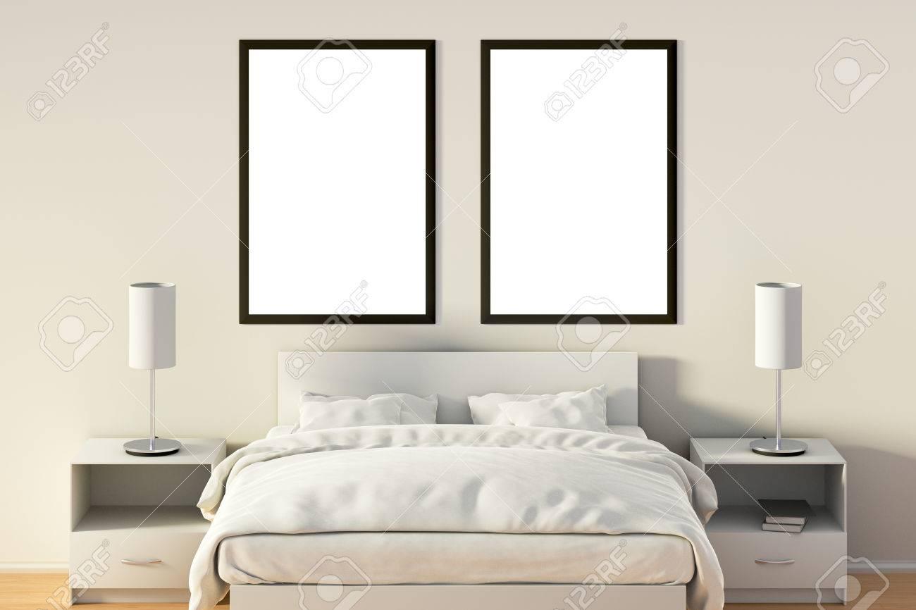 Zwei Leere Vertikale Poster Im Schlafzimmer Uber Weissen Bett Mit