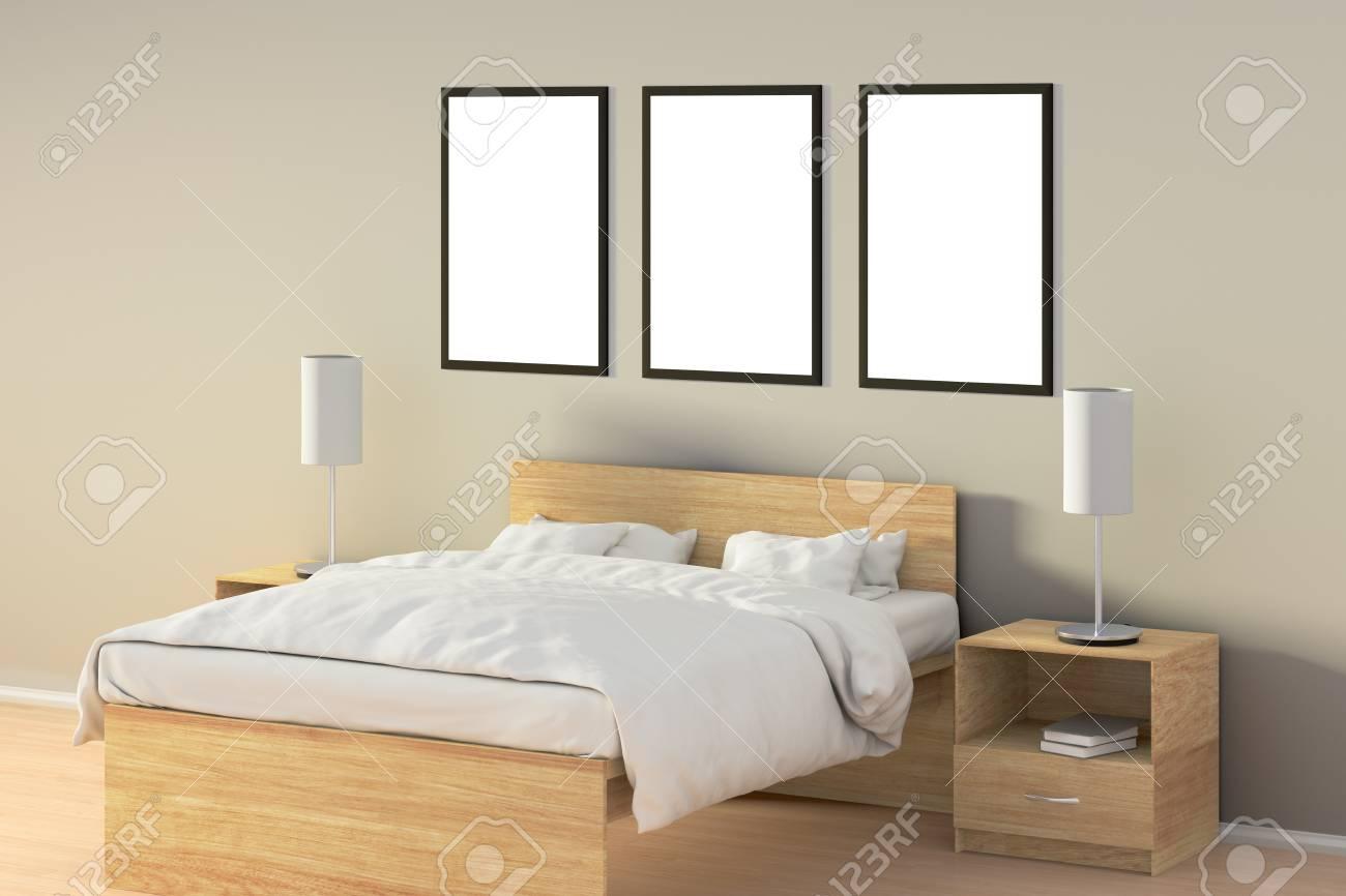 Drie Lege Verticale Posters In Slaapkamer Over Houten Bed ...