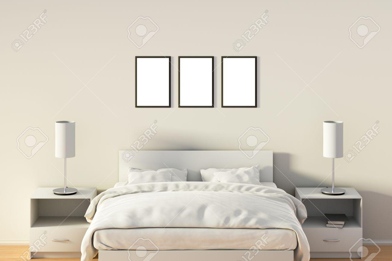 Drie Lege Verticale Posters In Slaapkamer Over Witte Bed. Geïsoleerd ...